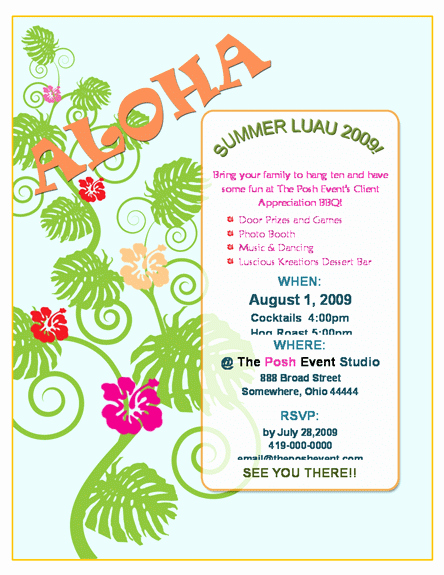 Hawaiian Party Invitation Template Free Fresh Luau Invitation Template