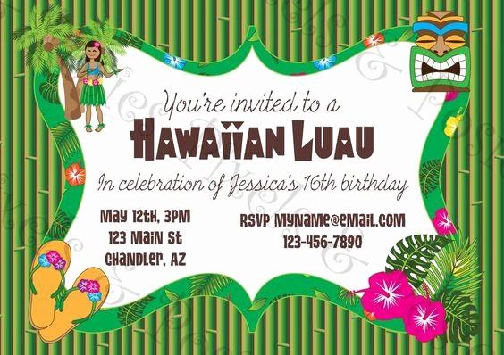 Hawaiian Party Invitation Template Free Inspirational 20 Luau Birthday Invitations Designs