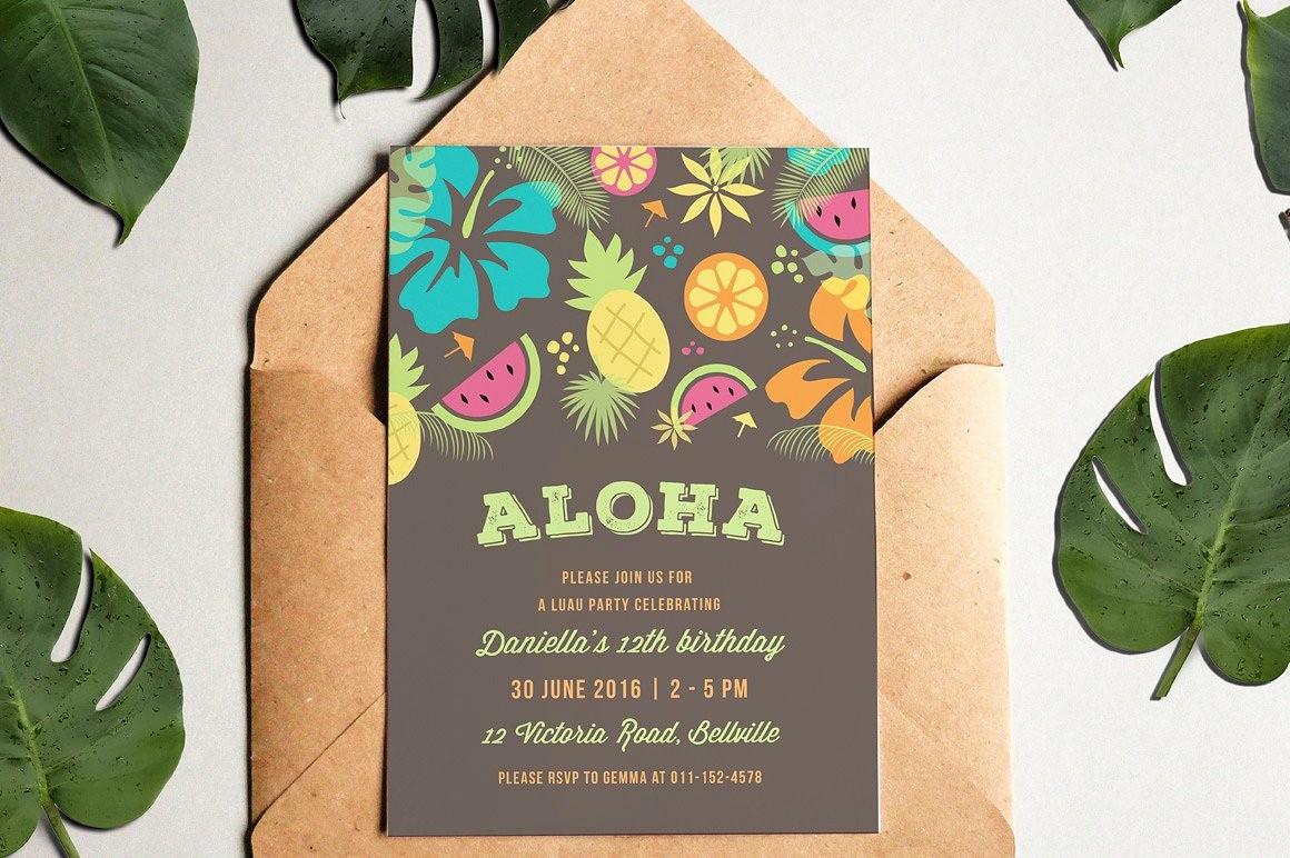 Hawaiian Party Invitation Template Free Inspirational Luau Party Invitation Invitation Templates Creative Market