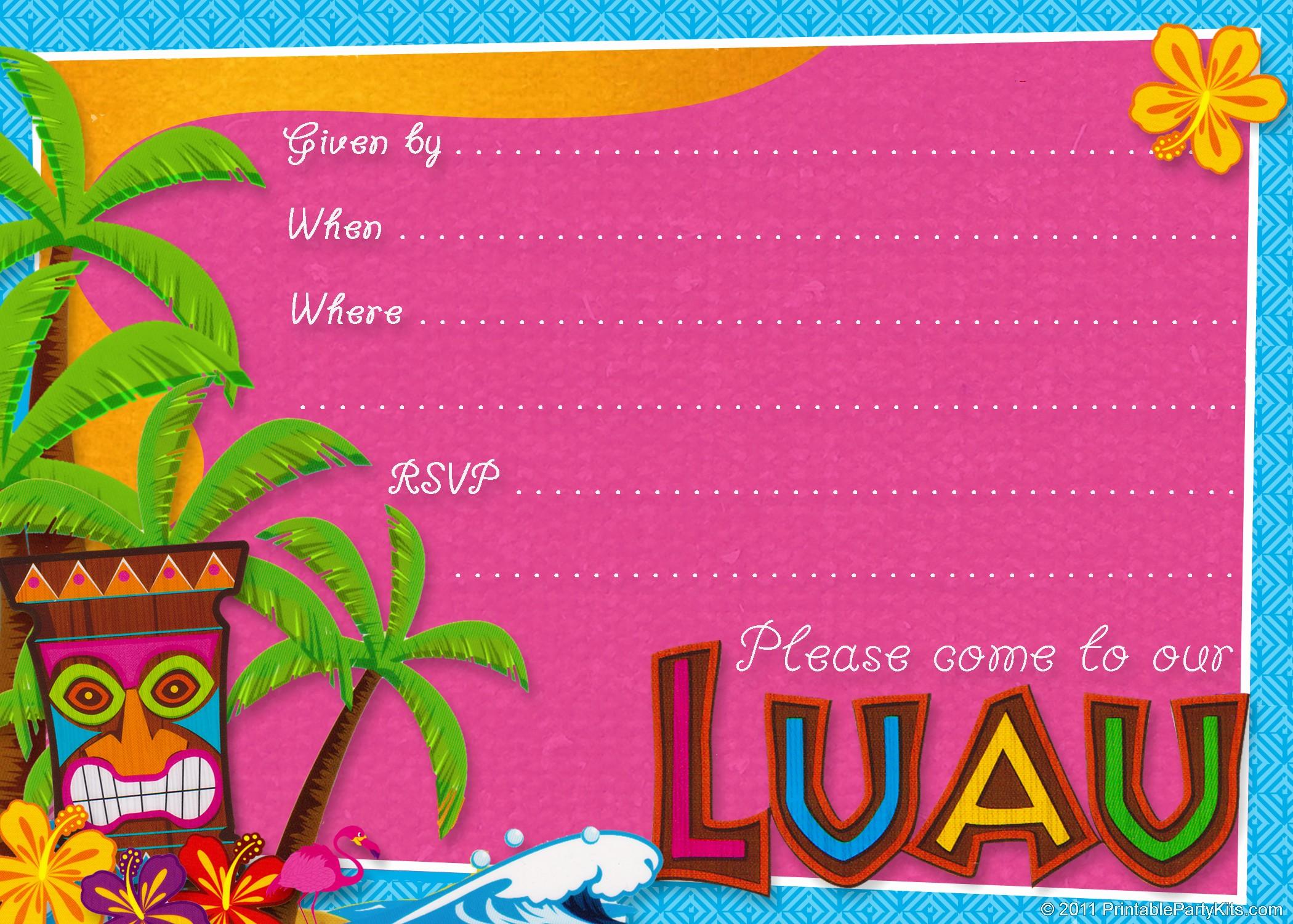 Hawaiian Party Invitation Template Free Lovely 20 Luau Birthday Invitations Designs
