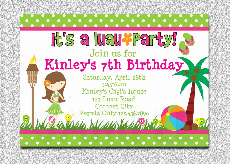 Hawaiian Party Invitation Template Free New 20 Luau Birthday Invitations Designs