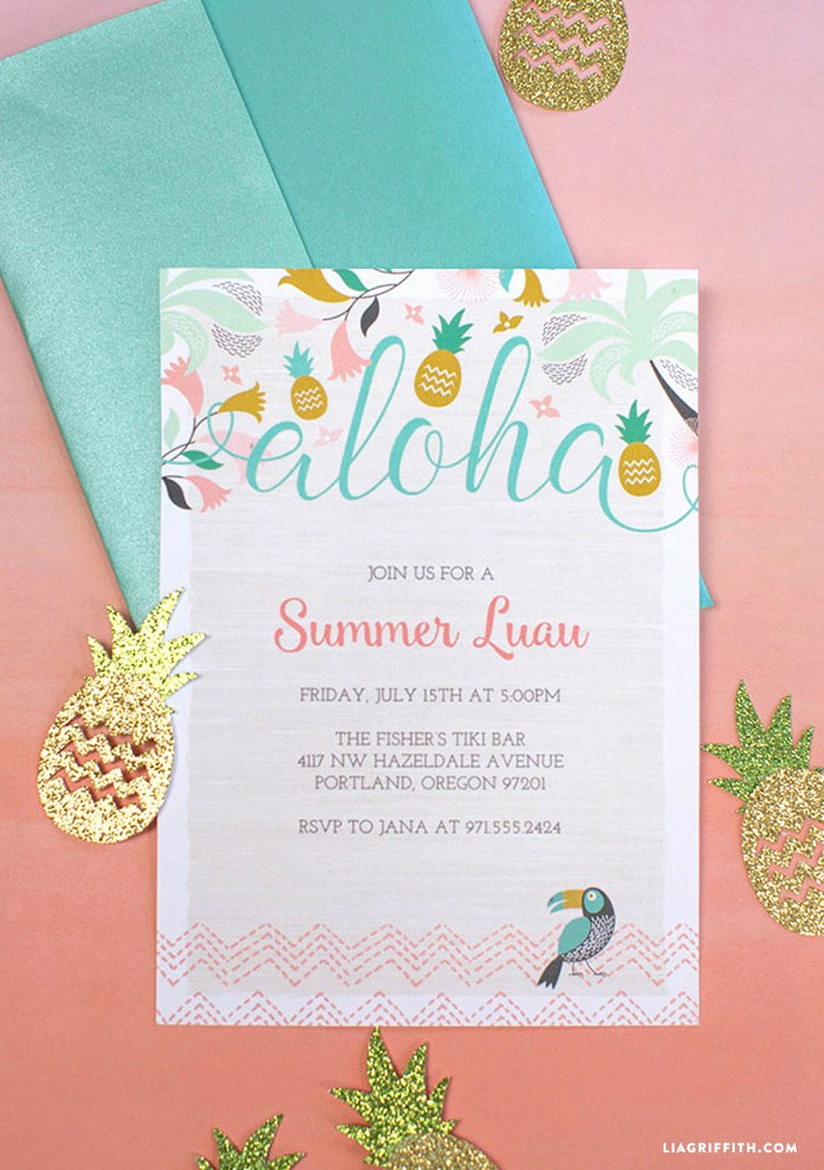 Hawaiian Party Invitation Template Free New Luau Party Invitations Lia Griffith