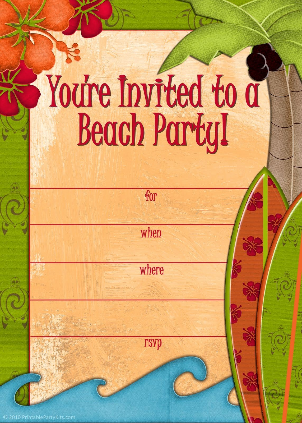 Hawaiian Party Invitation Template Free Unique Free Printable Beach Party Invitations From