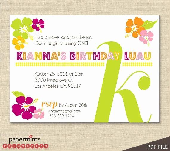 Hawaiian Party Invitation Template Free Unique Printable Hawaiian Luau Party Invitation