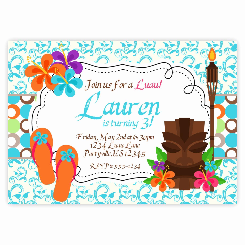 Hawaiian theme Party Invitations Printable Awesome Luau Invitation Turquoise Blue Damask Hawaiian by