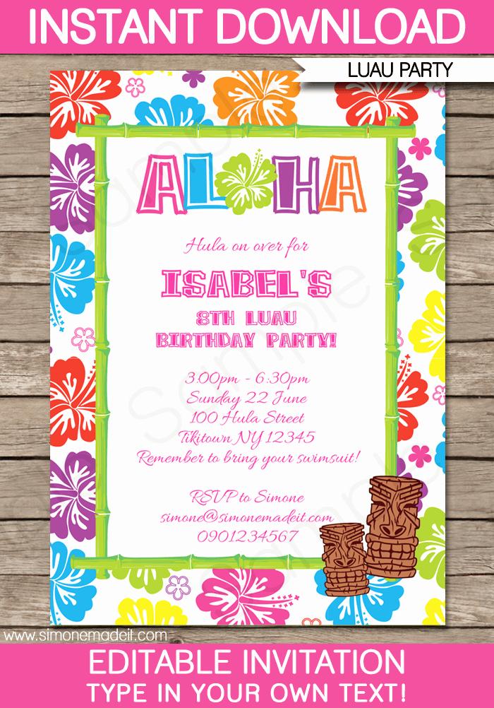 Hawaiian theme Party Invitations Printable Awesome Luau Party Invitations Template