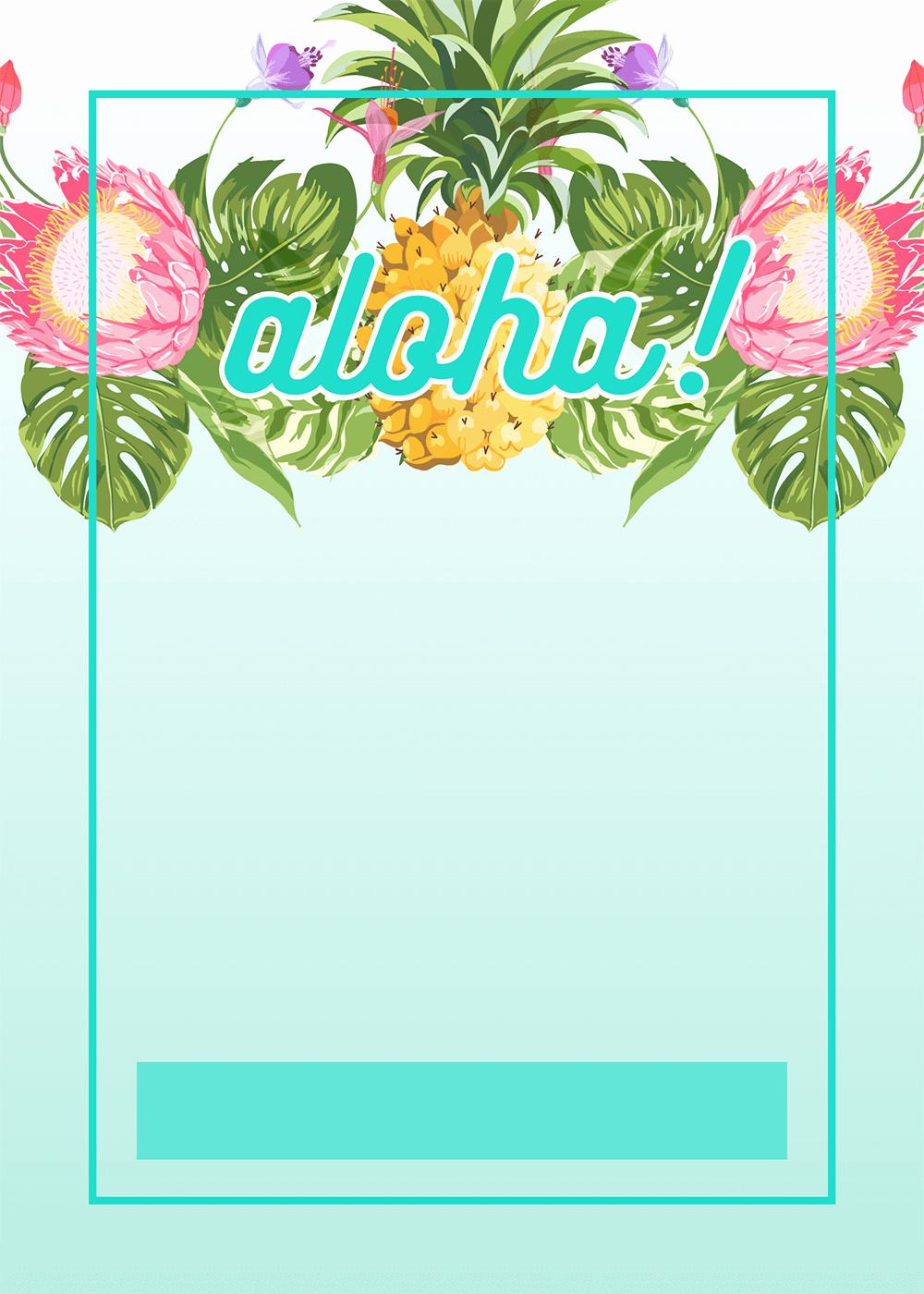 Hawaiian theme Party Invitations Printable Awesome Pineapple Luau Perimeter Free Printable Birthday