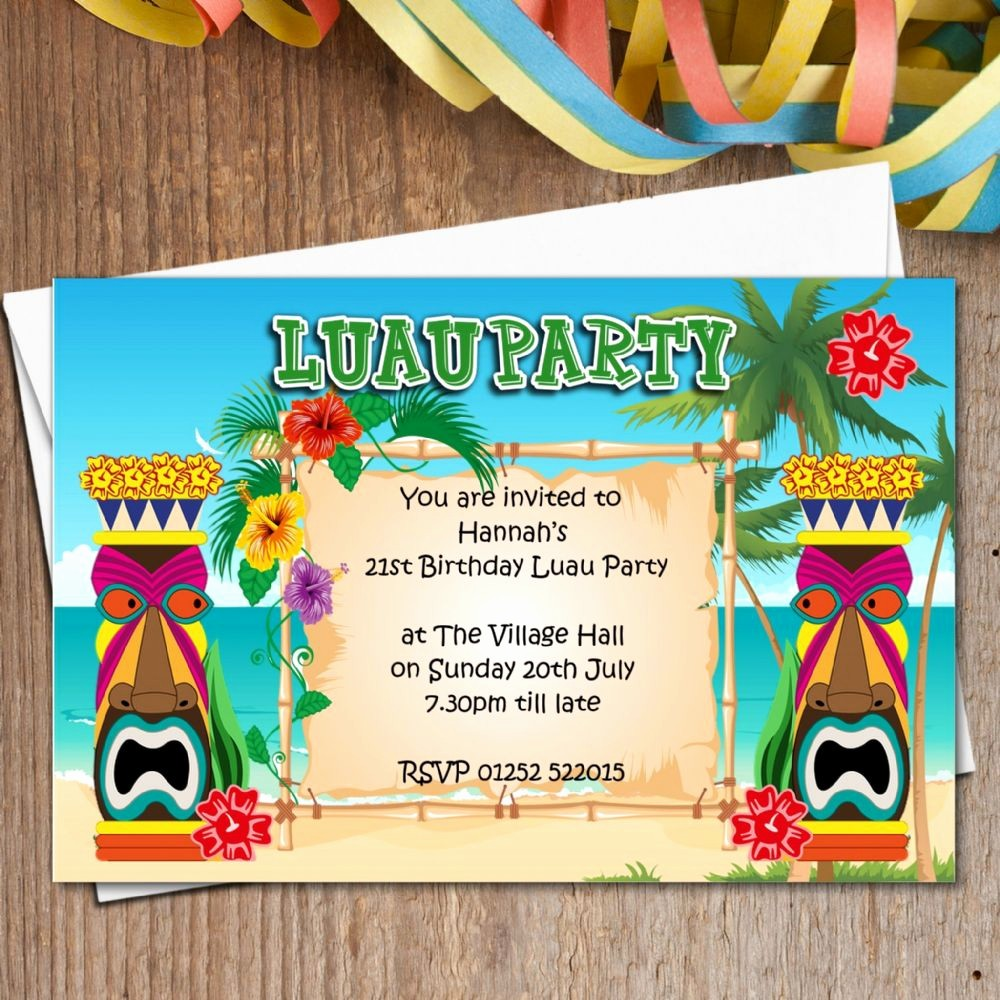 Hawaiian theme Party Invitations Printable Beautiful 10 Personalised Luau Hawaii Party Invitations N165 the