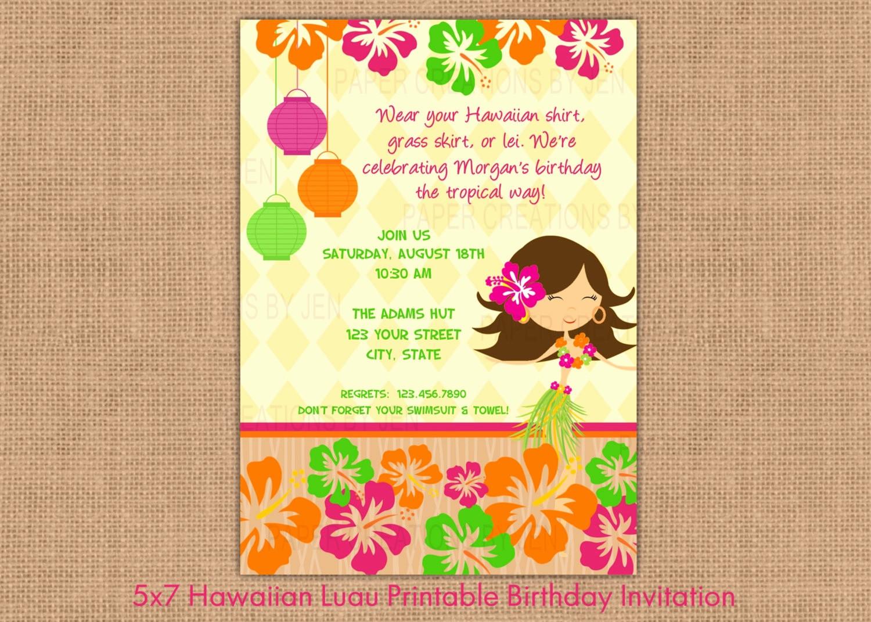 Hawaiian theme Party Invitations Printable Beautiful Hawaiian Luau Printable Birthday Invitation