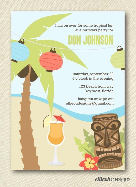 Hawaiian theme Party Invitations Printable Beautiful Items Similar to Hawaiian Luau Party Invite Printable 5x7