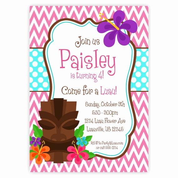 Hawaiian theme Party Invitations Printable Beautiful Items Similar to Luau Invitation Pink Chevron Turquiose