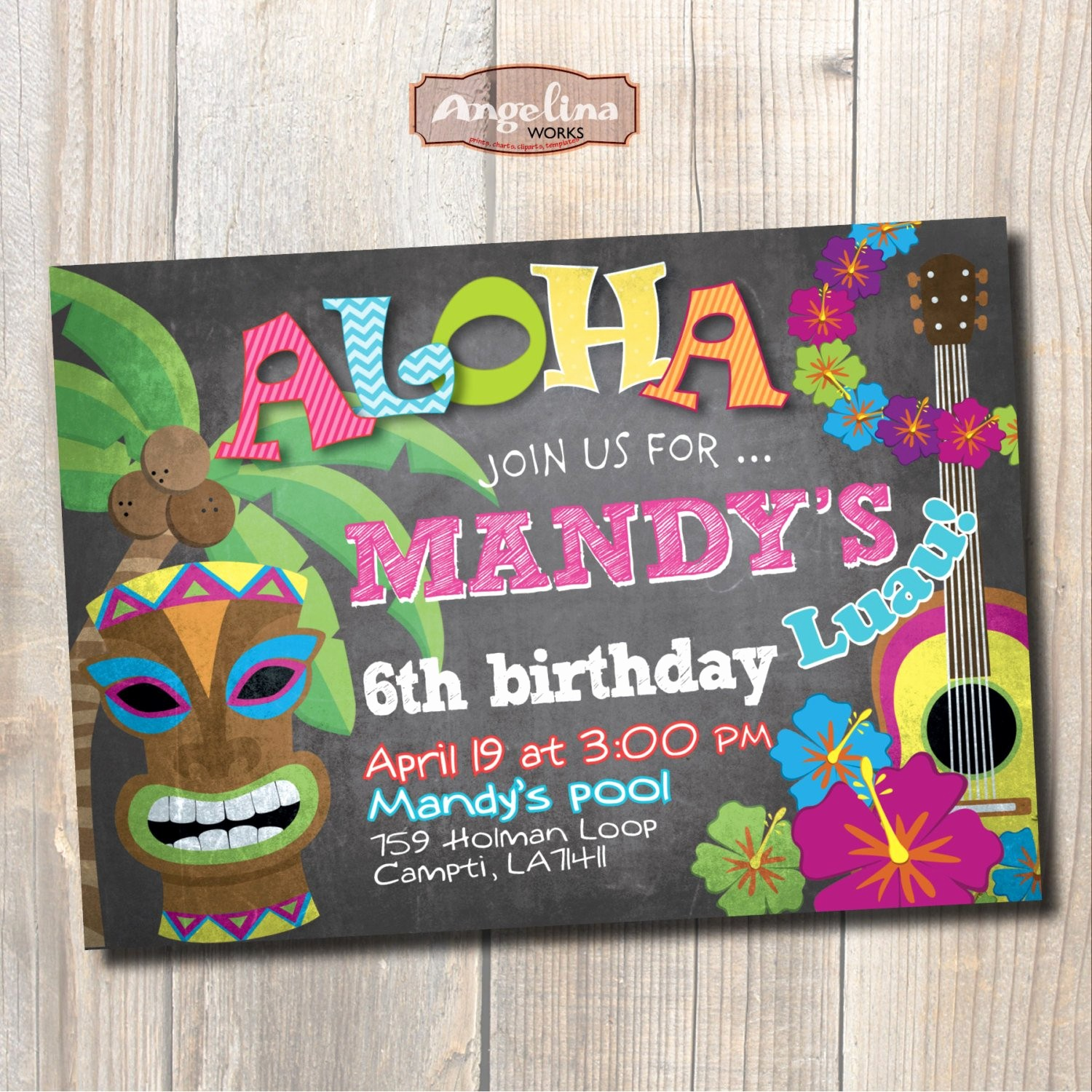 Hawaiian theme Party Invitations Printable Beautiful Luau Birthday Invitation Hawaiian Party Chalkboard Diy