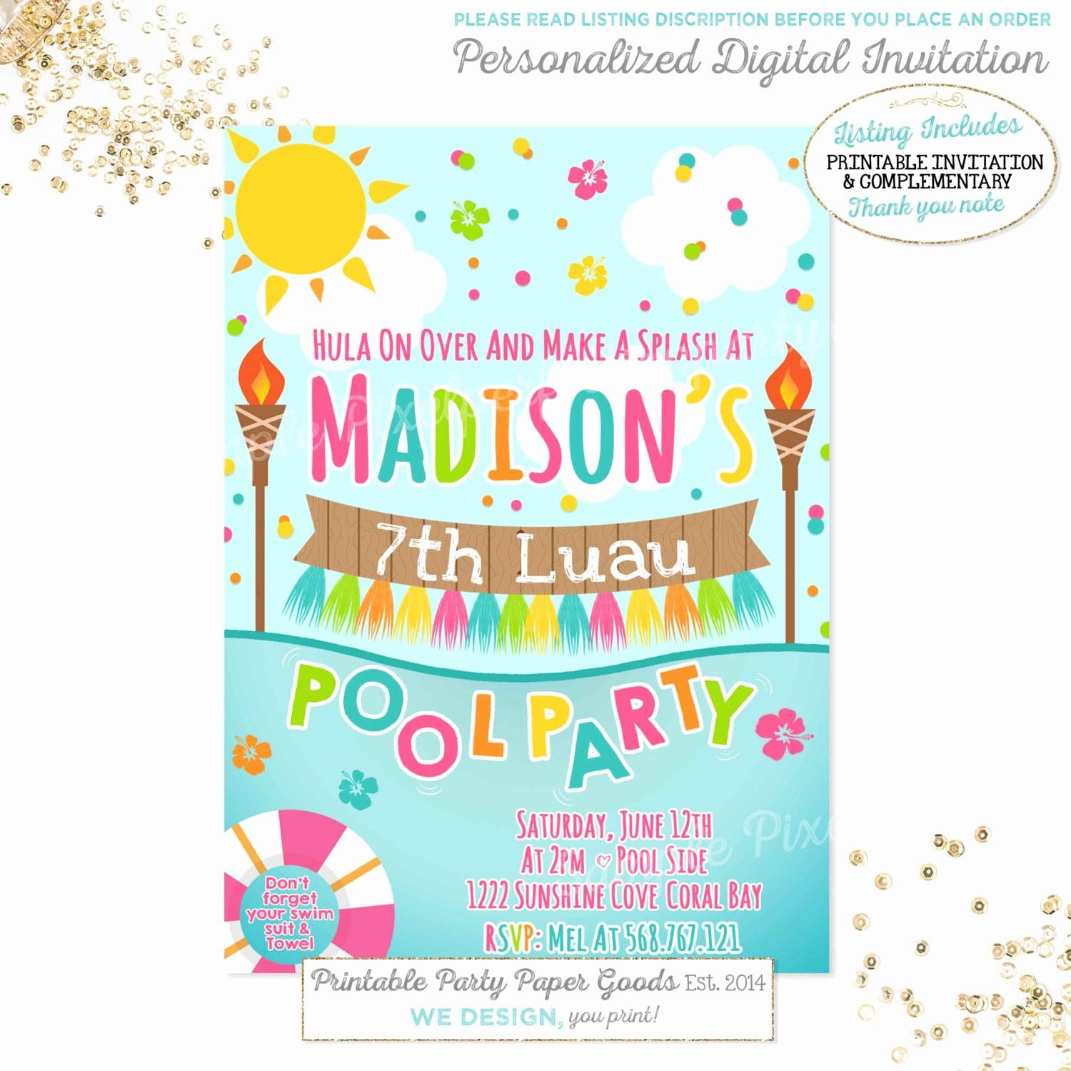 Hawaiian theme Party Invitations Printable Beautiful Luau Pool Party Invitation Luau Birthday Invitation Luau Pool