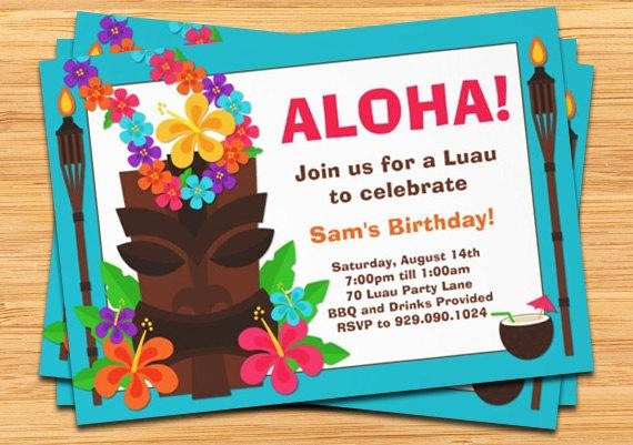 Hawaiian theme Party Invitations Printable Best Of Luau Party Invitation