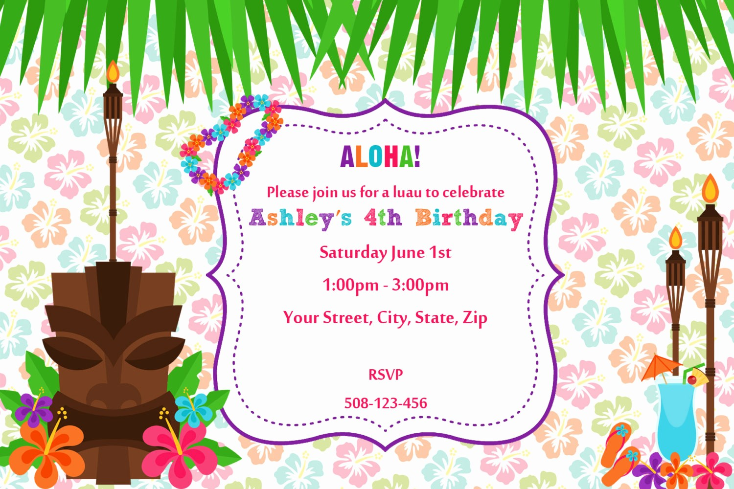 Hawaiian theme Party Invitations Printable Elegant 20 Luau Birthday Invitations Designs