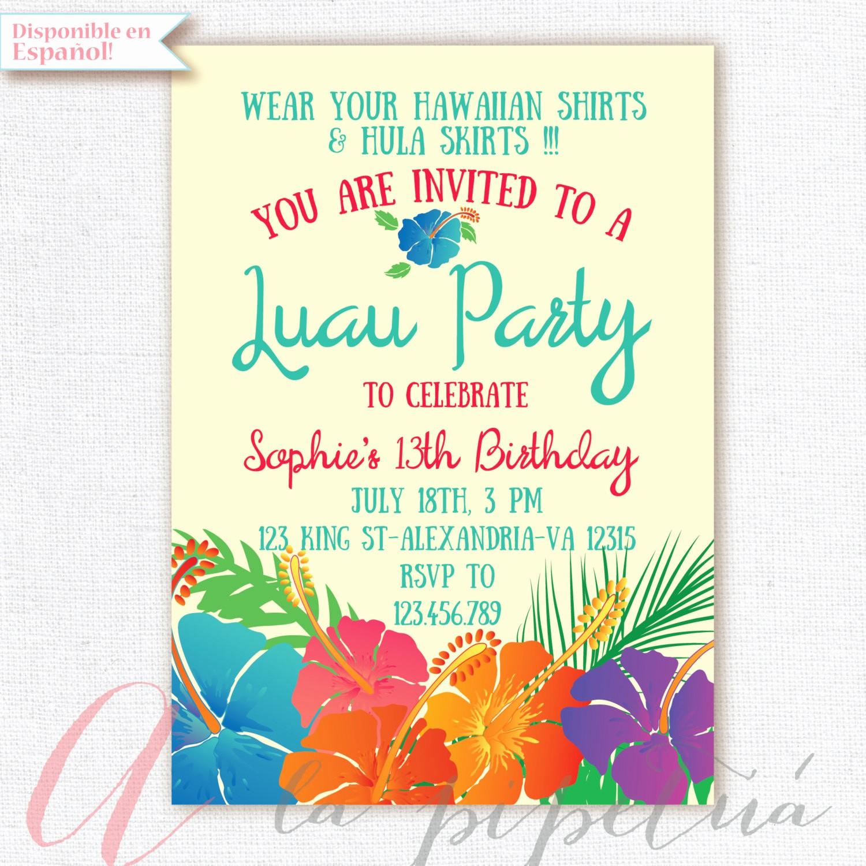 Hawaiian theme Party Invitations Printable Elegant Luau Invitation Birthday Party Hawaiian Party Invitation