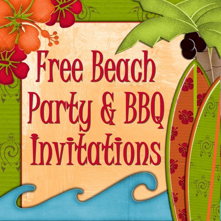 Hawaiian theme Party Invitations Printable Fresh Free Printable Beach Party Luau and Bbq Invitations