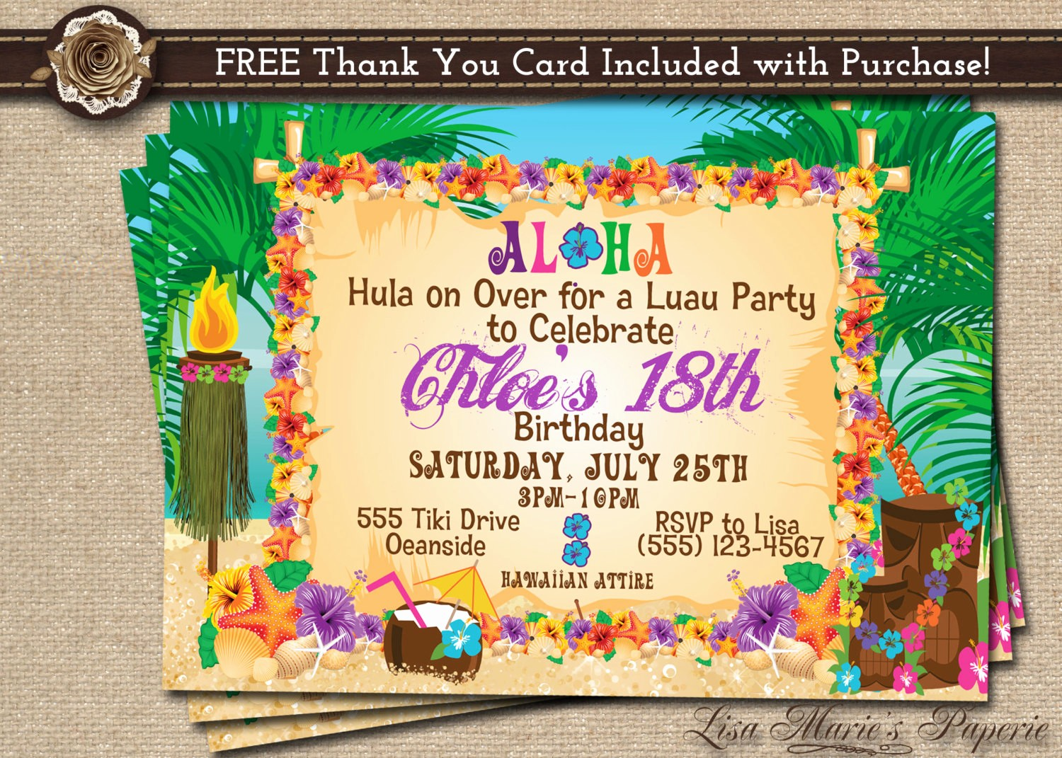 Hawaiian theme Party Invitations Printable Fresh Hawaiian Party Invitation Luau Birthday Invitation Luau