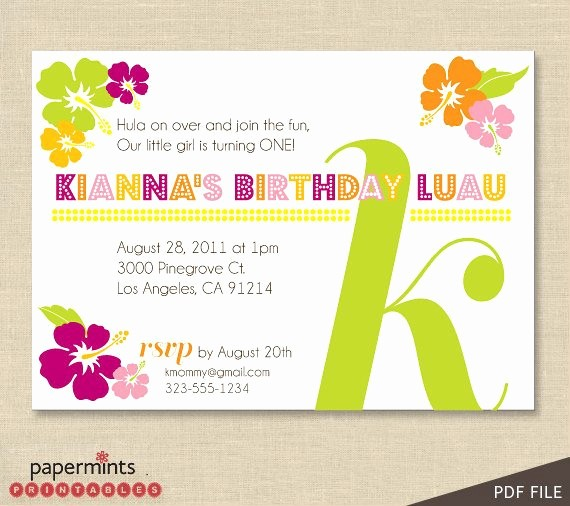 Hawaiian theme Party Invitations Printable Fresh Printable Hawaiian Luau Party Invitation by