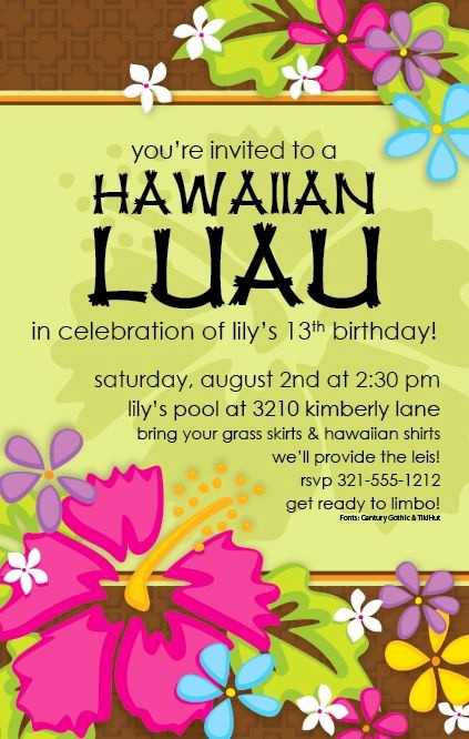 Hawaiian theme Party Invitations Printable Lovely Free Printable Luau Invitation Templates