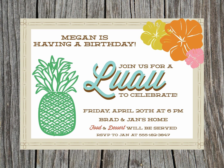 Hawaiian theme Party Invitations Printable Lovely Printable Luau Birthday Party Invitation by Printyourheartout