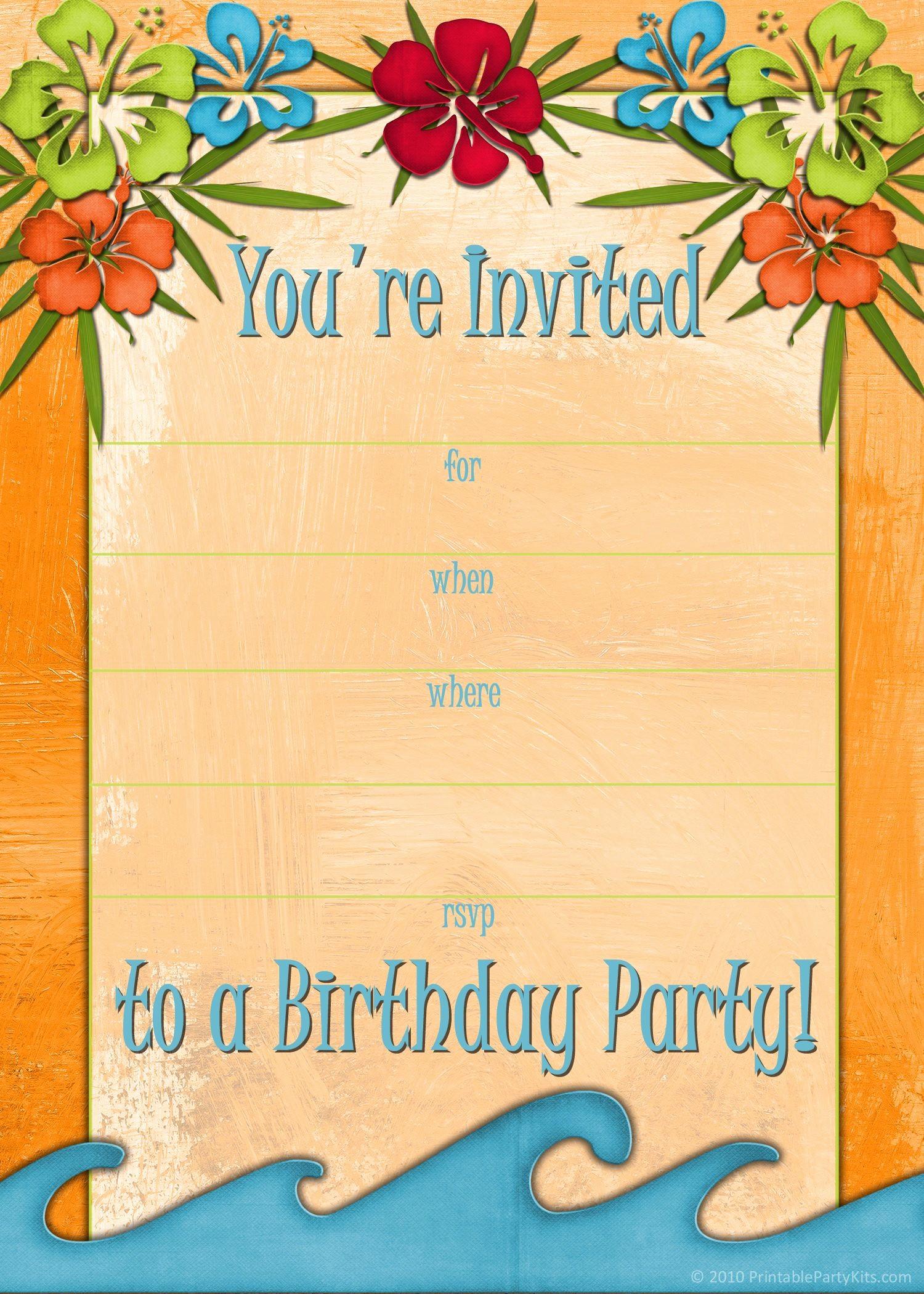 Hawaiian theme Party Invitations Printable Luxury Free Printable Beach Party Luau and Bbq Invitations
