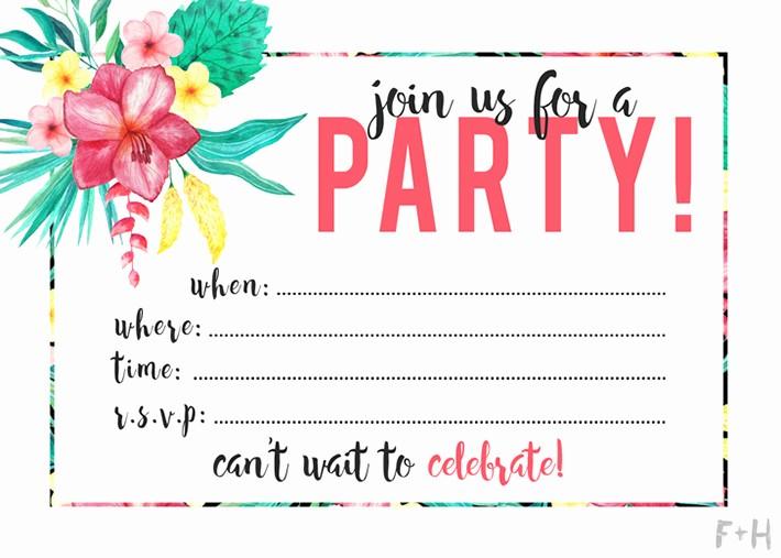 Hawaiian theme Party Invitations Printable Luxury Free Printable Tropical Party Invitation