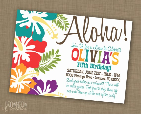 Hawaiian theme Party Invitations Printable Luxury Luau Birthday Party Invitations Party Xyz