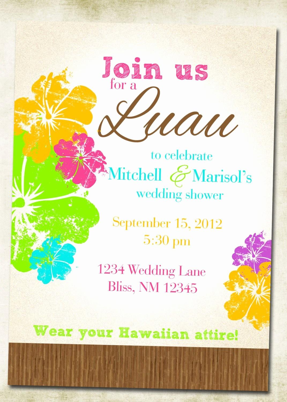 Hawaiian theme Party Invitations Printable New Luau Hawaiian themed Invitation