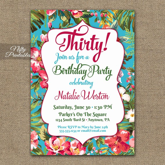 Hawaiian theme Party Invitations Printable New Tropical Birthday Invitations Printable Hawaiian Birthday