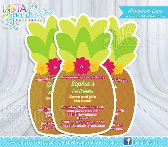 Hawaiian theme Party Invitations Printable Unique Luau Invitations Pineapple Hawaiian Invitation Invites