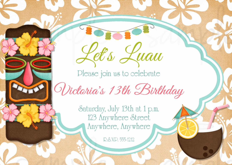 Hawaiian themed Invitation Templates Free Beautiful Hawaiian Luau Birthday Invitation