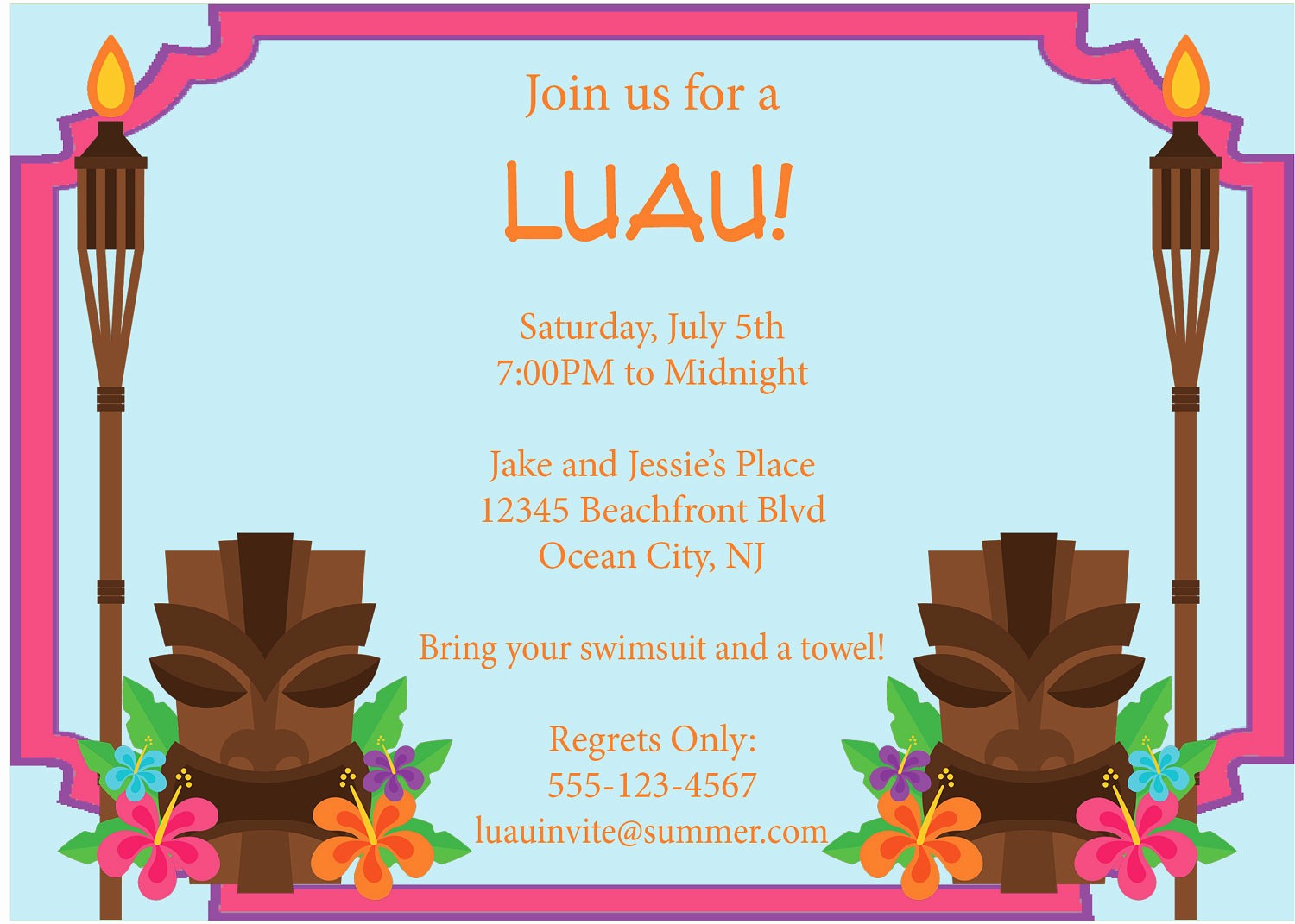 Hawaiian themed Invitation Templates Free Beautiful Luau Invitation Tiki torches Summer Pool Party by
