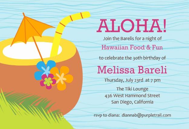 Hawaiian themed Invitation Templates Free Beautiful Luau Party Invitations Template