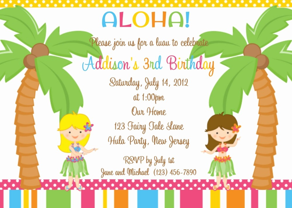 Hawaiian themed Invitation Templates Free Best Of Luau Party Invitations Wording Party Xyz