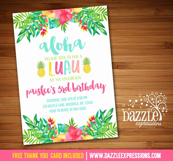Hawaiian themed Invitation Templates Free Best Of Printable Luau Birthday Invitation Tropical Watercolor