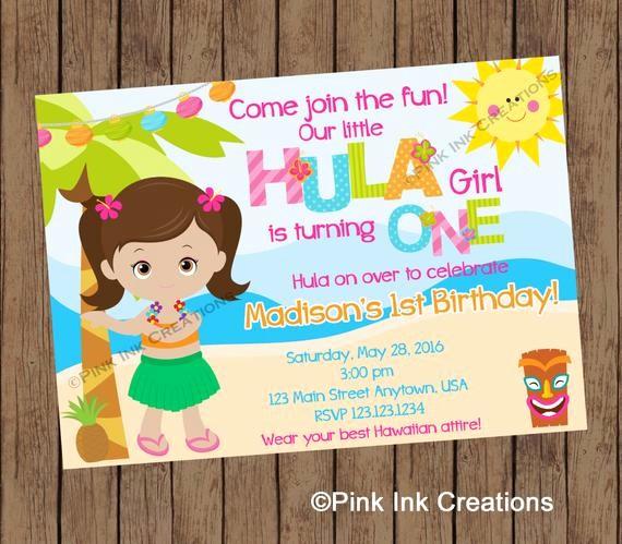 Hawaiian themed Invitation Templates Free Elegant Hula Girl Birthday Invitation Hawaiian Birthday Invitation
