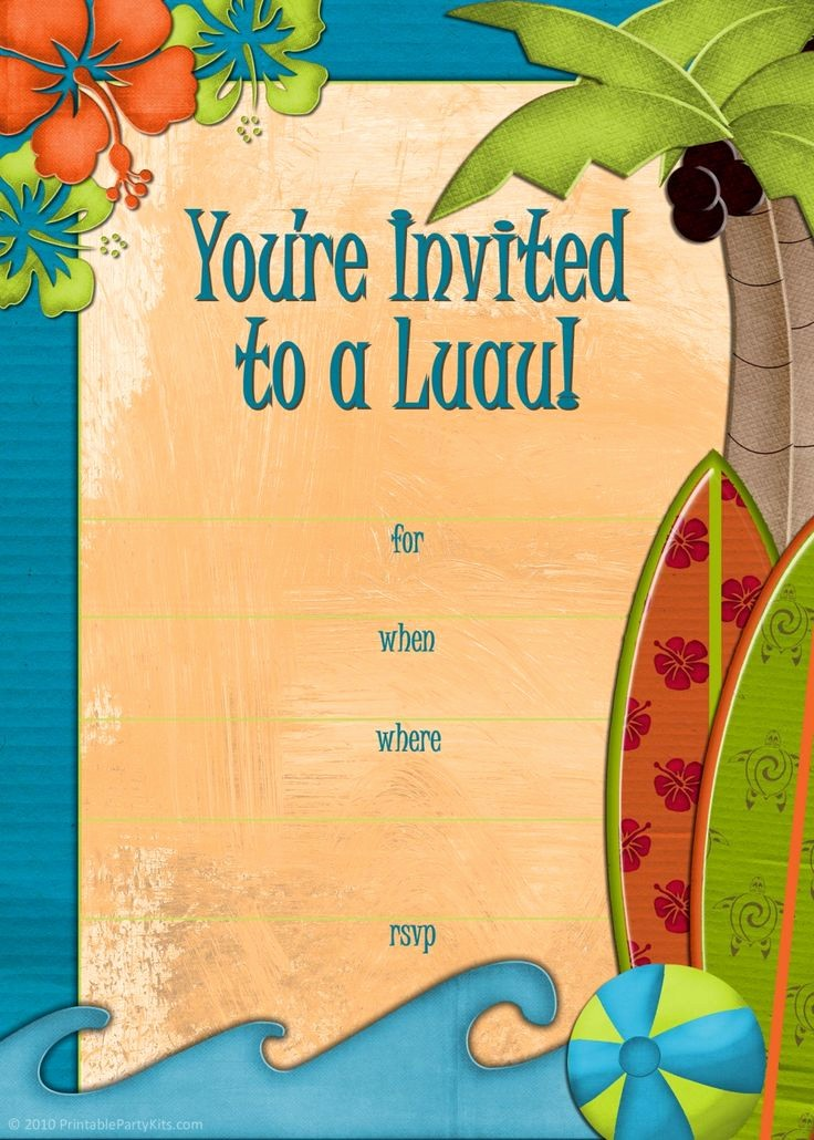 Hawaiian themed Invitation Templates Free Fresh 1000 Ideas About Luau Party Invitations On Pinterest