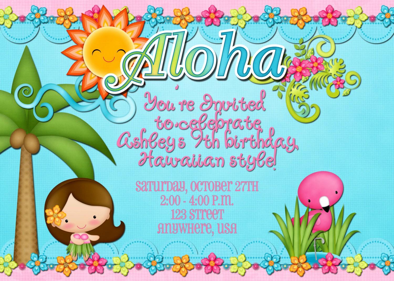 Hawaiian themed Invitation Templates Free Fresh Hawaiian Luau Birthday Party Invitation