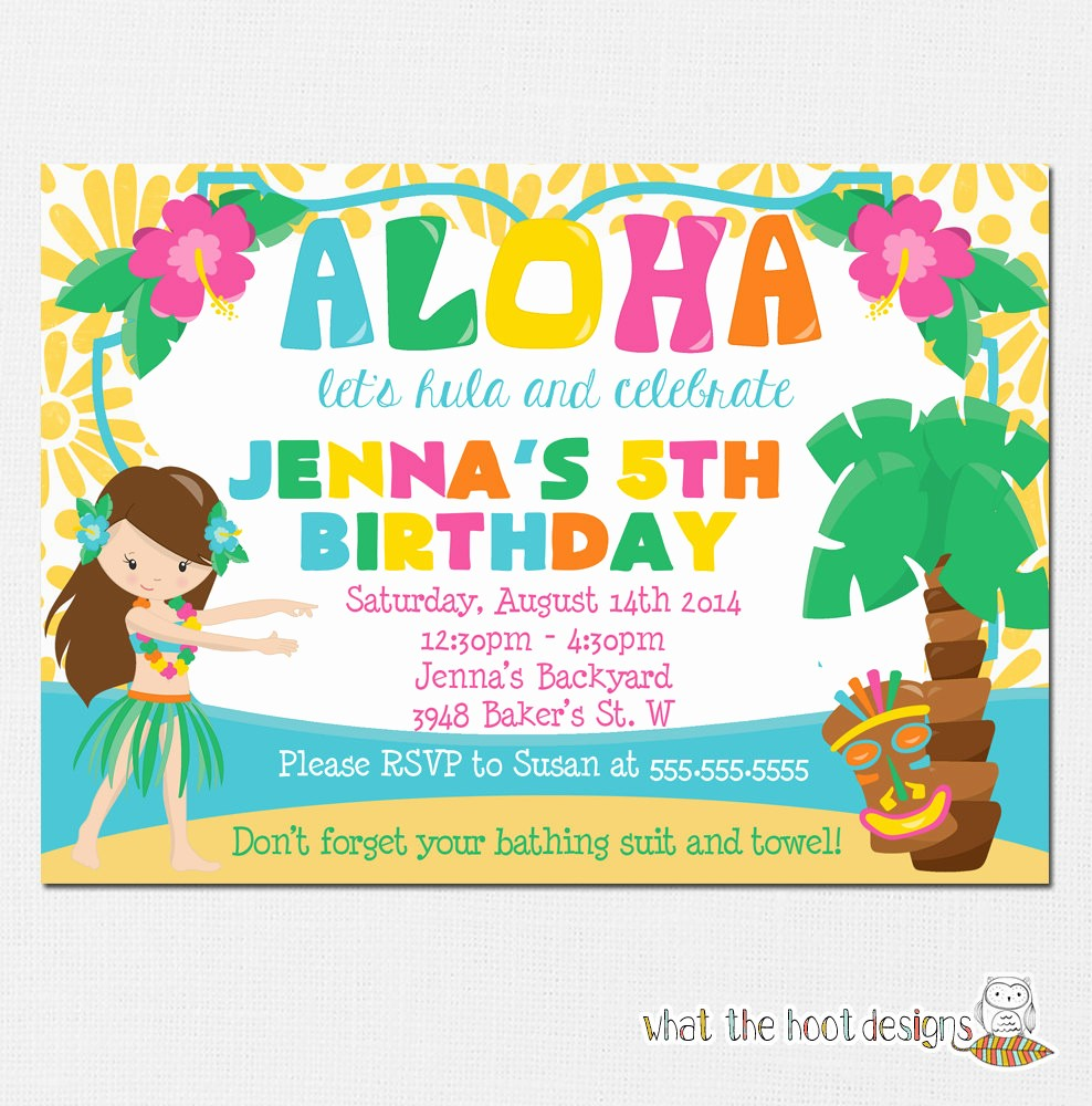Hawaiian themed Invitation Templates Free Fresh Luau Invitation Luau Birthday Party Luau Pool Party