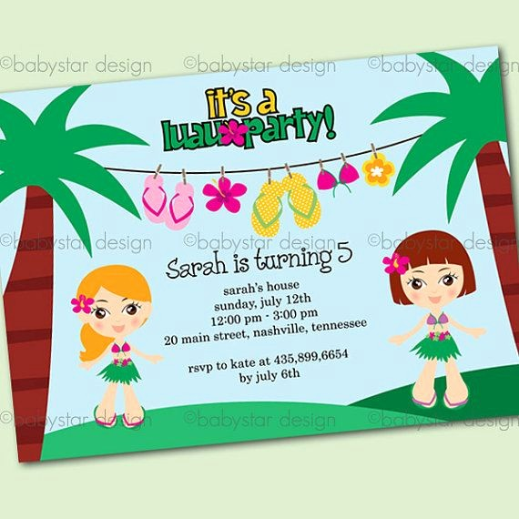 Hawaiian themed Invitation Templates Free Fresh Luau Invitation Templates
