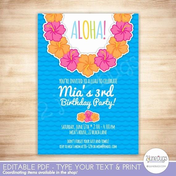 Hawaiian themed Invitation Templates Free Fresh Luau Party Invitation Luau Birthday Party Invitation