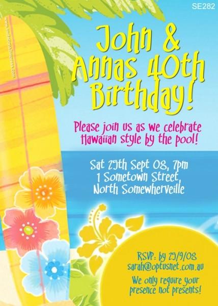 Hawaiian themed Invitation Templates Free Fresh Se282 Hawaiian Invitation La S Birthday Invitations