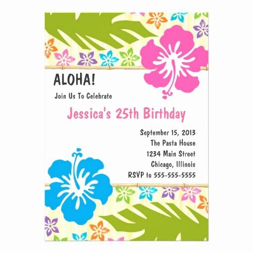 """Hawaiian themed Invitation Templates Free Inspirational Hawaiian Luau Party Invitation 5"""" X 7"""" Invitation Card"""