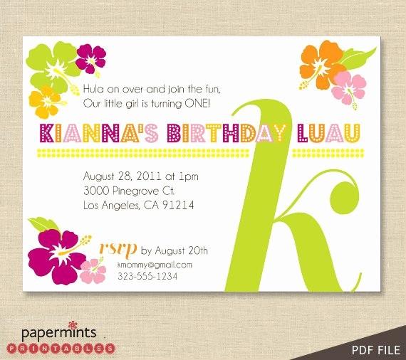 Hawaiian themed Invitation Templates Free Inspirational Printable Hawaiian Luau Party Invitation by