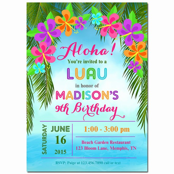 Hawaiian themed Invitation Templates Free Lovely Luau Invitation Printable or Printed with Free Shipping