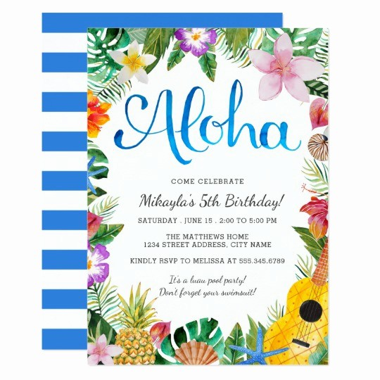 Hawaiian themed Invitation Templates Free Lovely Watercolor Tropical Luau Birthday Party Invite