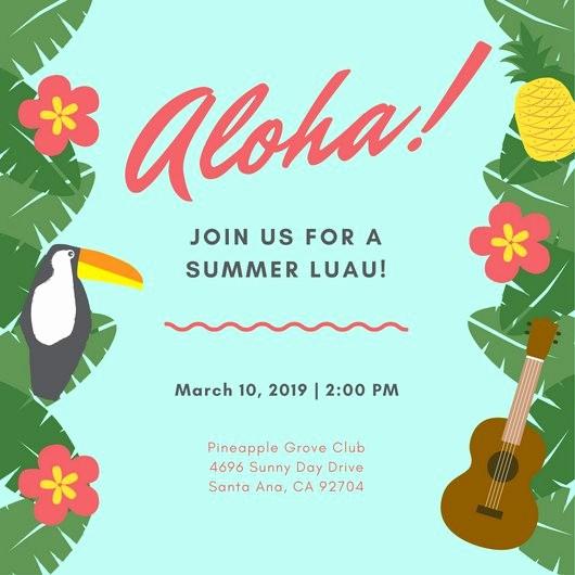 Hawaiian themed Invitation Templates Free Luxury Customize 102 Luau Invitation Templates Online Canva
