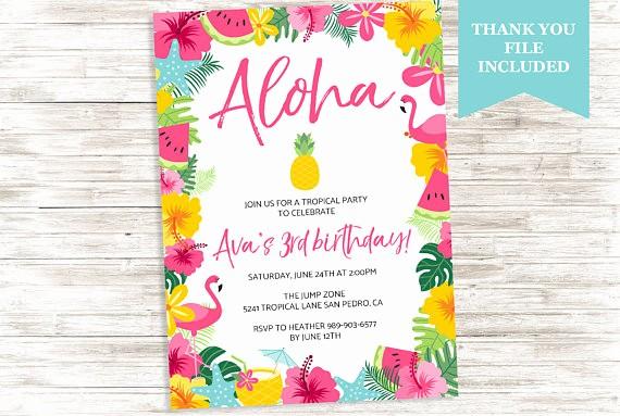 Hawaiian themed Invitation Templates Free Luxury Luau Aloha Birthday Invite Hawaiian Invitation Flamingo