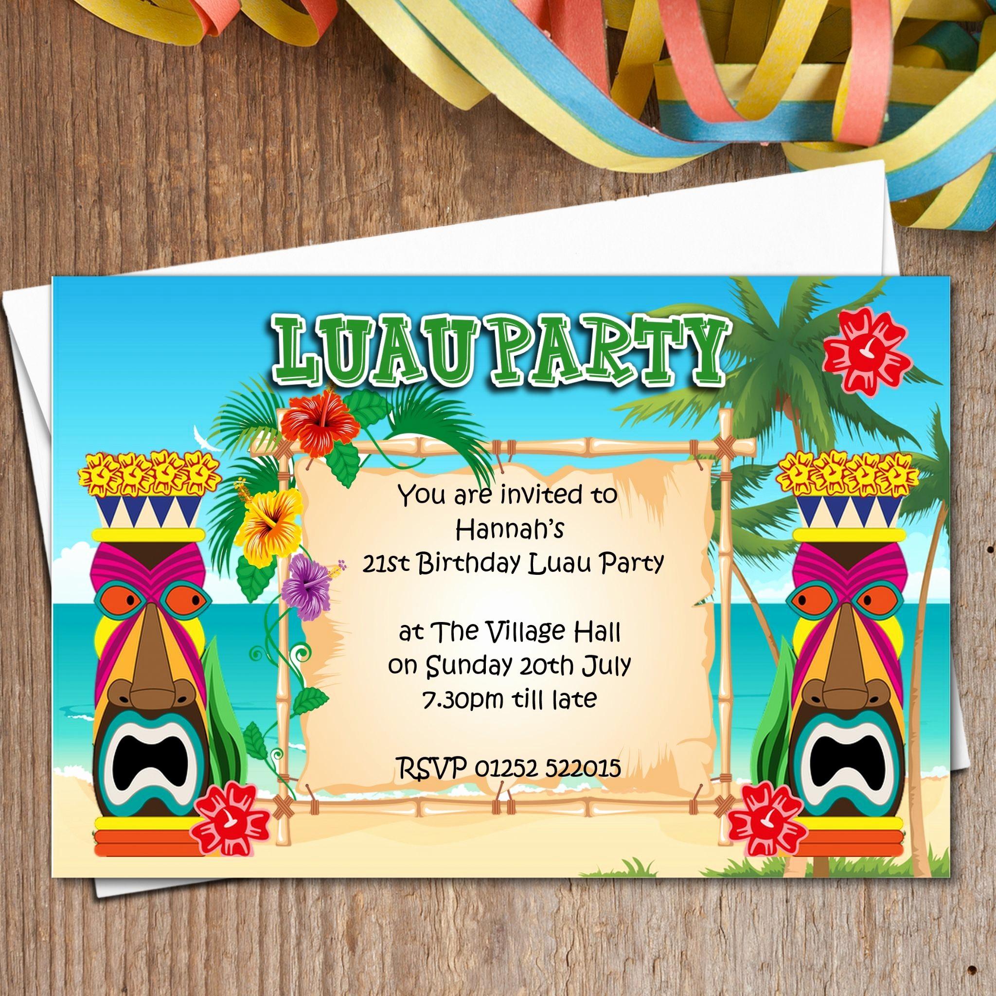 Hawaiian themed Invitation Templates Free New 10 Personalised Luau Hawaii Party Invitations N165